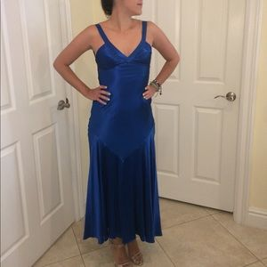 Adrianna Papell Boutique Royal Blue Silk Gown